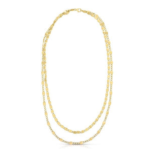 14K Yellow Souble Strang Vintage Chain Necklace