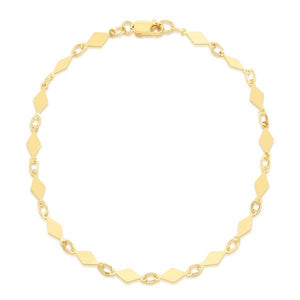 "14K Yellow 7"" Diamond Mirror Bracelet"