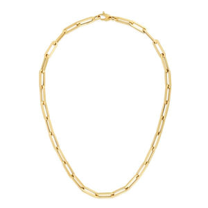 "14K Yellow 18"" Fancy Paperclip 6.1mm Chain"