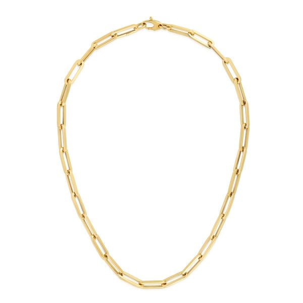 "14K Yellow 30"" Fancy Paperclip 6.1mm Chain"
