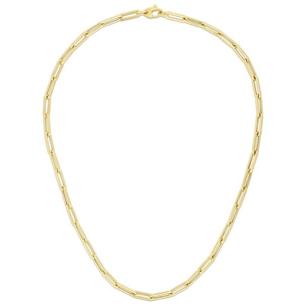 "14K Yellow 18"" Fancy Paperclip 4.2mm Chain"