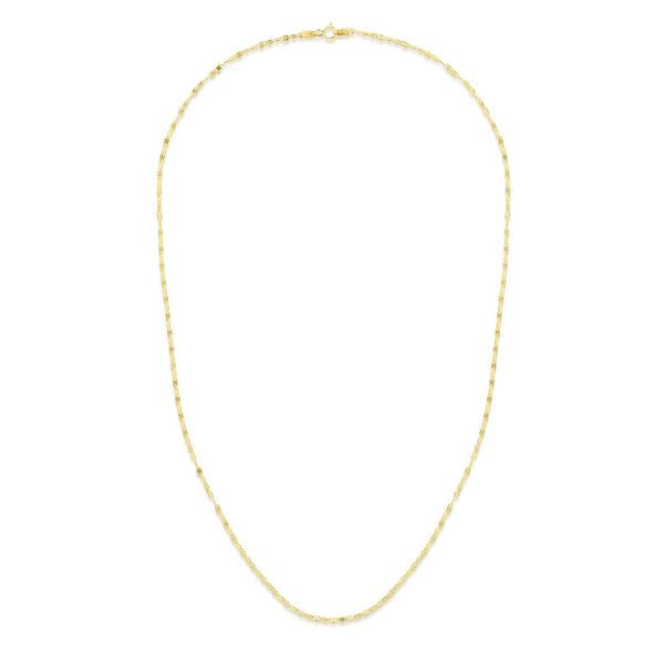14K Yellow Diamond Cut Mariner Necklace