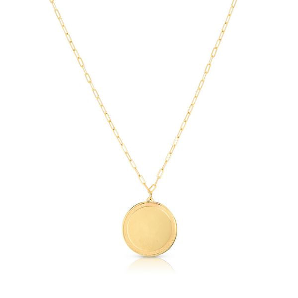 14K Round Disc Necklace