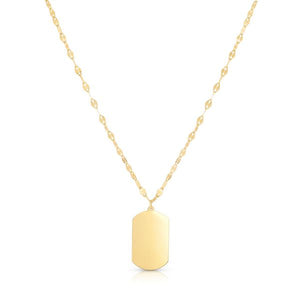14K Flat Dog Tag Necklace