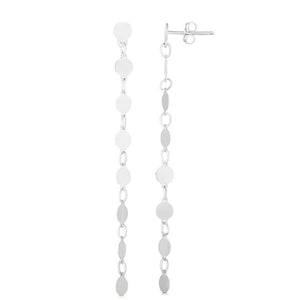 14K White Gold Round Mirror Chain Earring
