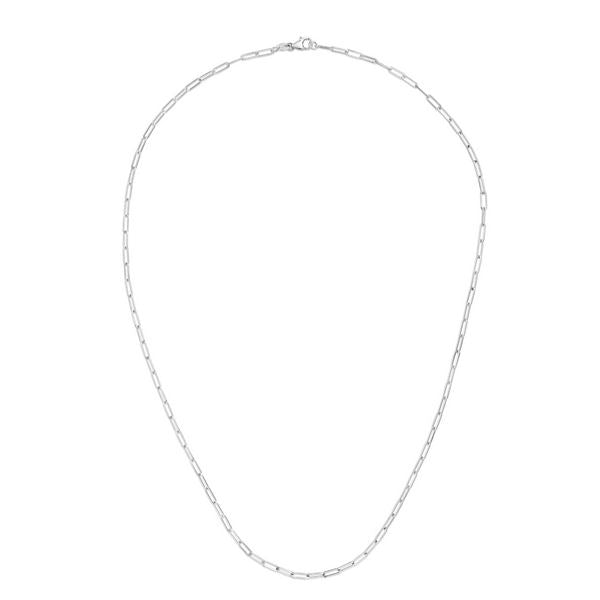 14K White Paperclip 2.1mm Chain