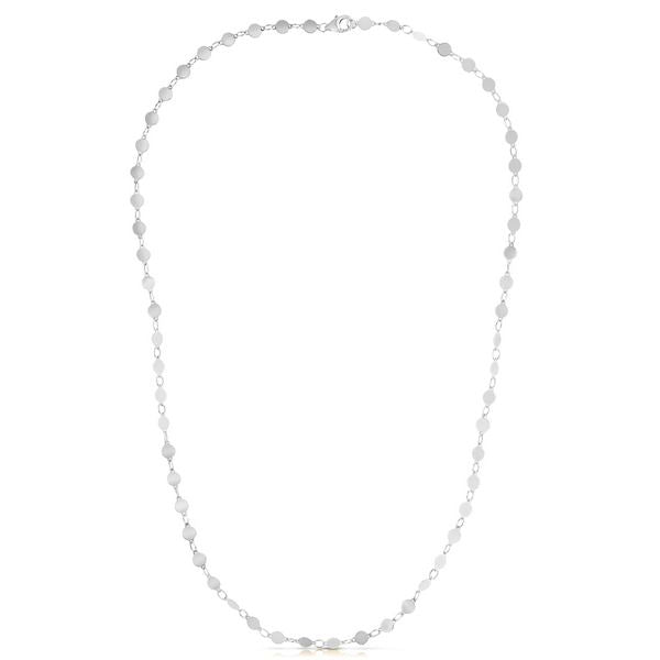 14K White Round Mirror Chain