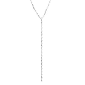 "14K 17"" White Round Mirror Chain Y Necklace"