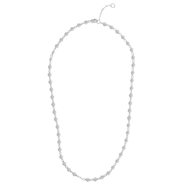 "14K 16.25"" White Round Mirror Chain Choker"