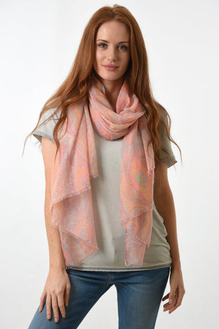 Pink Scarf with Neon Floral Paisley Print