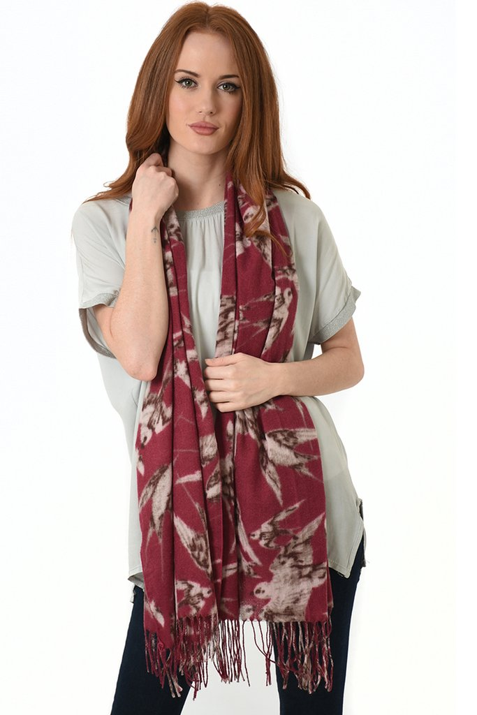 Swallow Print Scarf in Red with Tassels