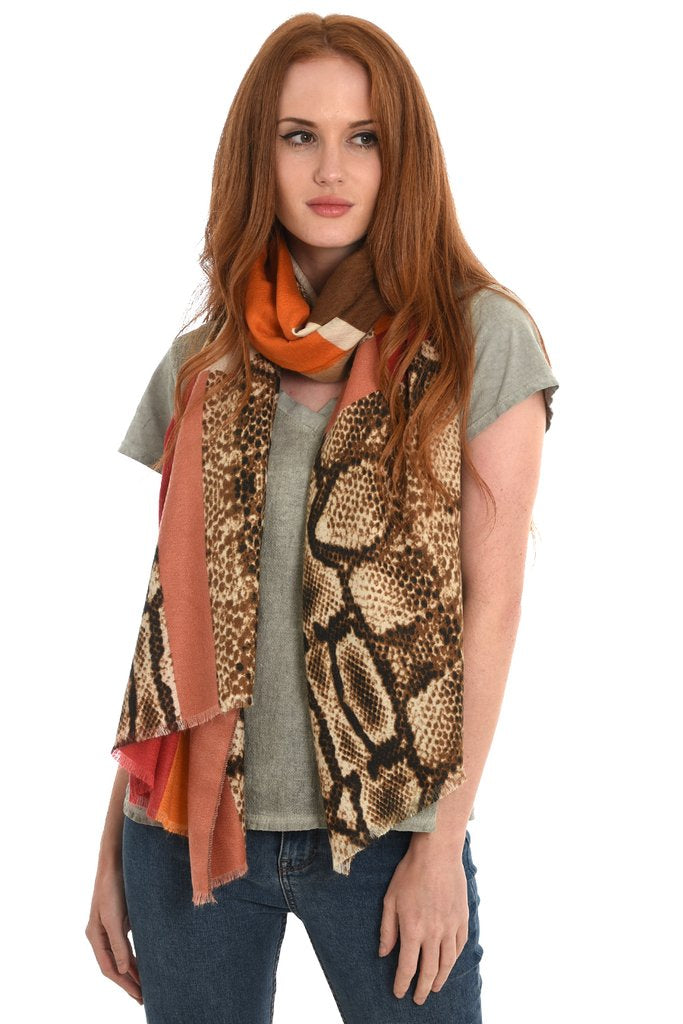 Red, Orange and Cream Snakeprint Colour-blocked Scarf.