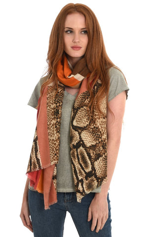 Snakeprint Colour-blocked Scarf. 2 Colopurways