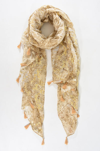 Snakeskin Print Scarf with Tassels in Beige with Metallic Gold