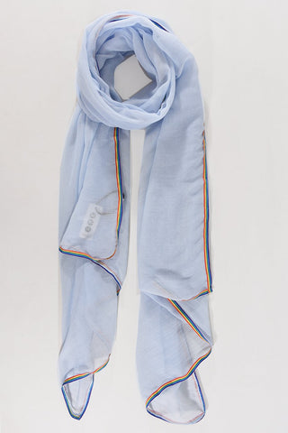 Rainbow Trimmed Scarf Light Blue