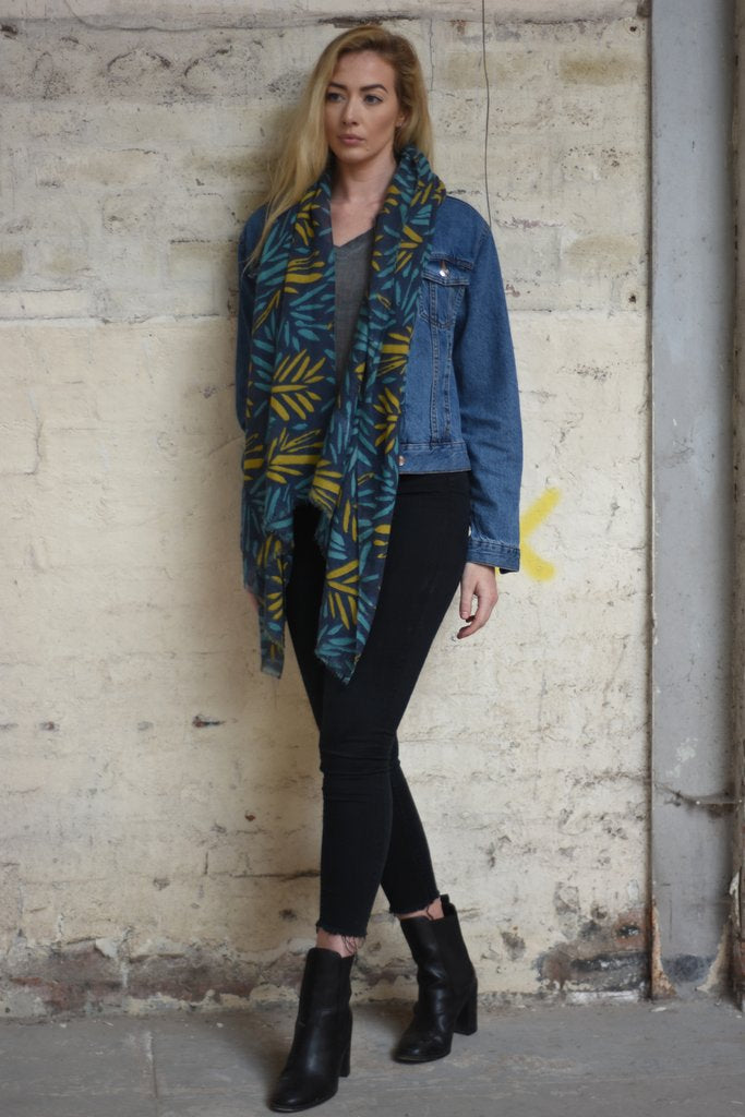 Navy Blue And Mustard Two Tone Leaf Printed Scarf