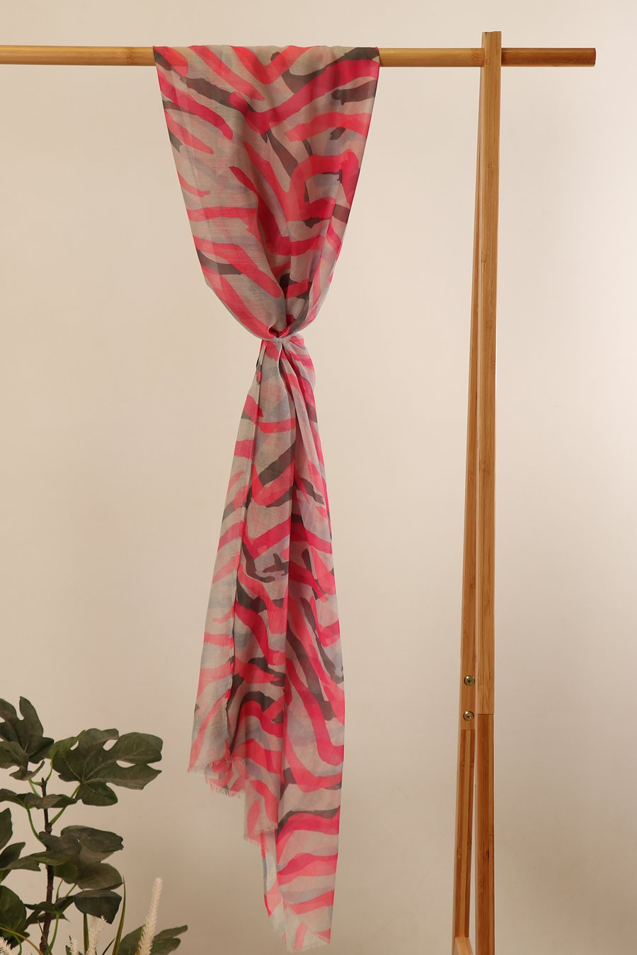 Zebra Painted Print Scarf in Dark Grey and Pink