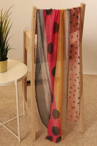 Fuchsia Dark Grey Painted Stripe and Spot Scarf