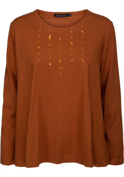 Hedia Embroidered Top in Caramel & Navy