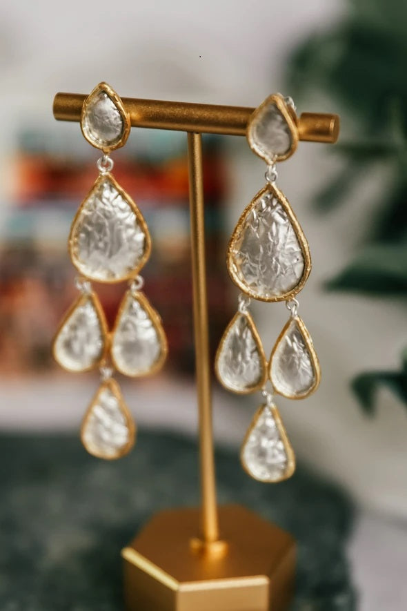 My Doris Multi Teardrop Earrings Brushed Silver and Brushed Gold