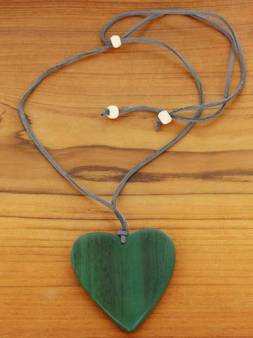 Suede Necklace with Wooden Heart Pendant Various Colours
