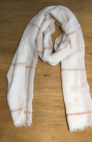 White Scarf with Rose Gold Metallic Line Check