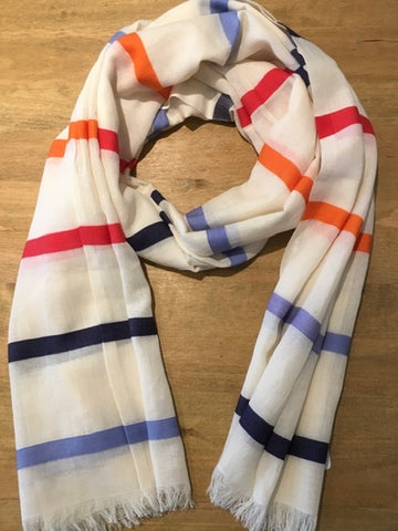 Navy and Red Multi Colour Striped scarf