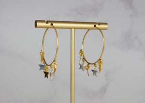 My Doris Mixed Silver and Gold Stars Hoop Earring