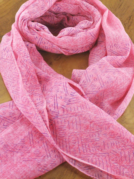 Long Block Printed Cotton Scarf Various Colours