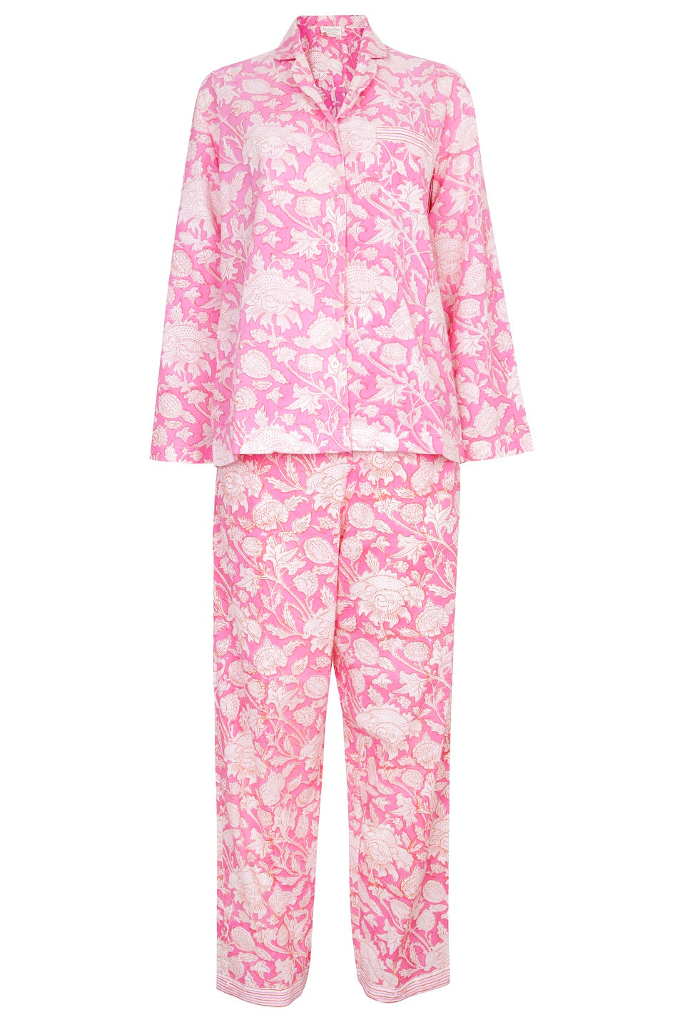 Hand Block Printed Long PJs in Hibiscus Pink