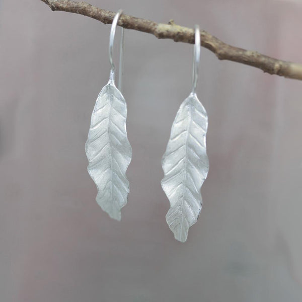 Banana Leaf Silver Earrings