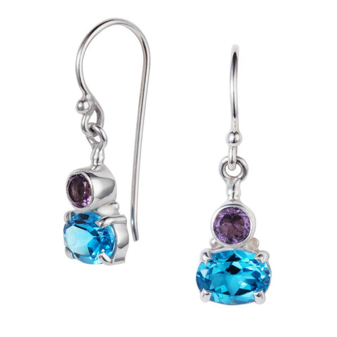Small Violet Amethyst & Blue Topaz Silver Drop Earring