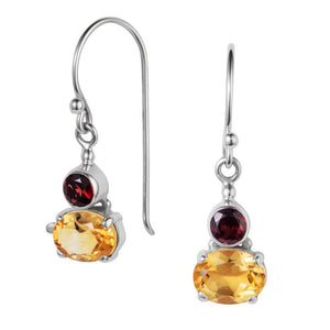 Small Snapdragon Citrine and Garnet Silver Drop Earrings