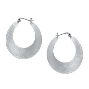 Crescent Hoop Earring in Silver