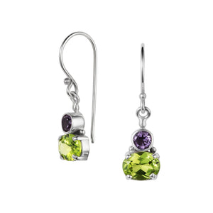 Small shamrock Silver Earrings with Peridot and Amethyst