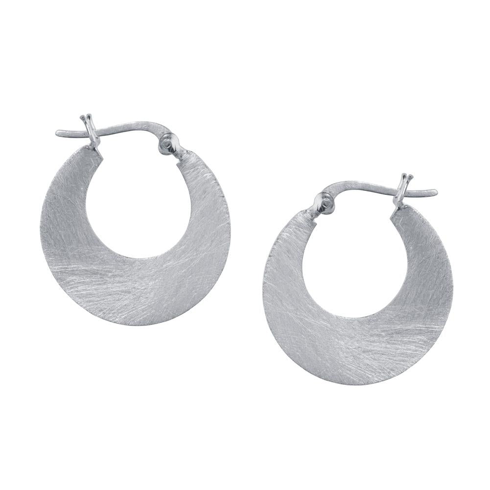 Small Crescent Hoop Earrings in Silver