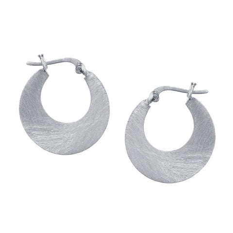Chrisin Ranger Small Crescent Hoop Earrings in Silver