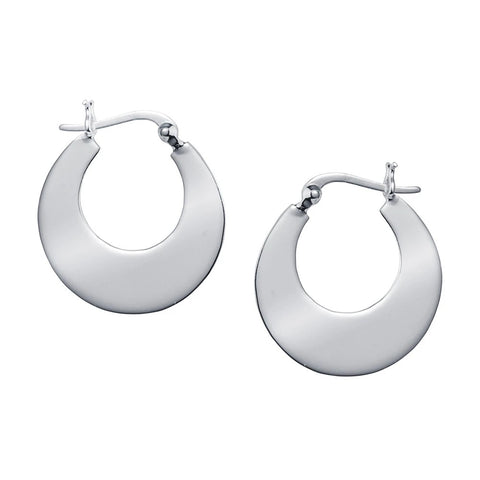 Small Crescent Hoop Earrings in Polished Silver