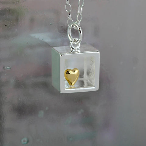 Heart of Gold Silver Pendant