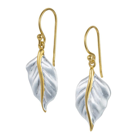 Golden Leaf Silver Earrings
