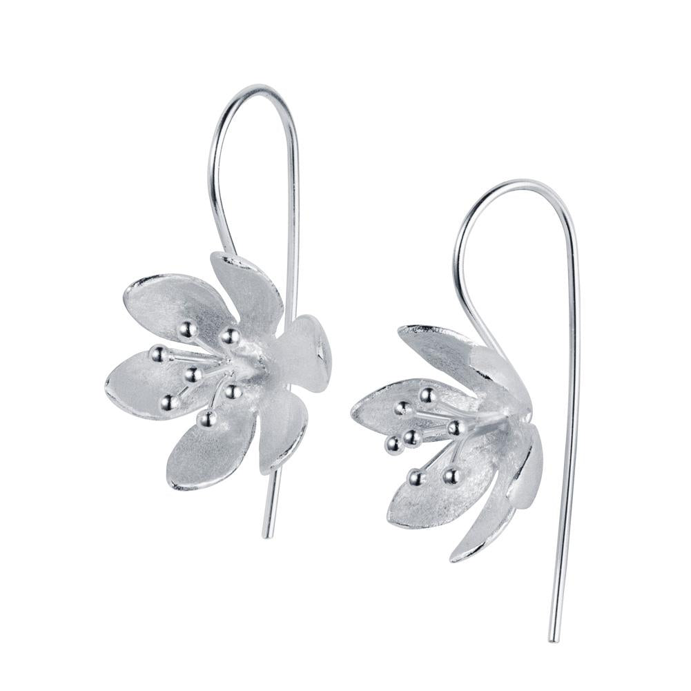 Christin Ranger Water Lily Silver Earrings