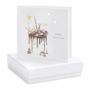 Boxed Chocolate Cake Birthday Earring Card