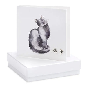 Boxed Cat Earring Card