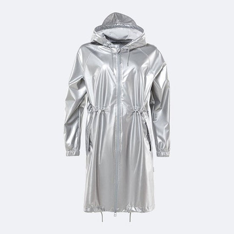 Long W Jacket in Metallic Silver