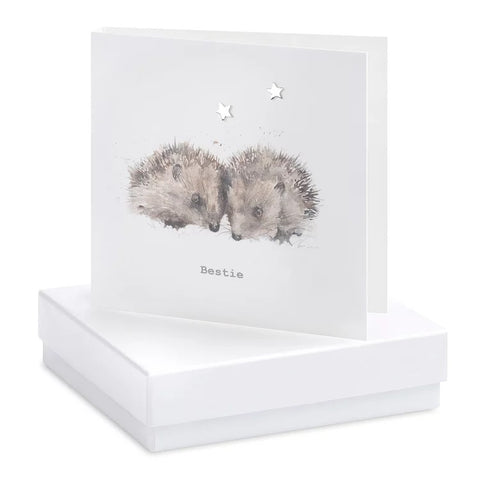 Boxed Hedgehog Earring Card