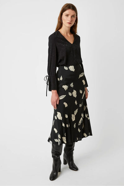 Winter Umbra Midi Skirt in Black