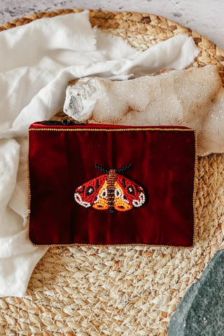 Purse Wine Moth Velvet Small
