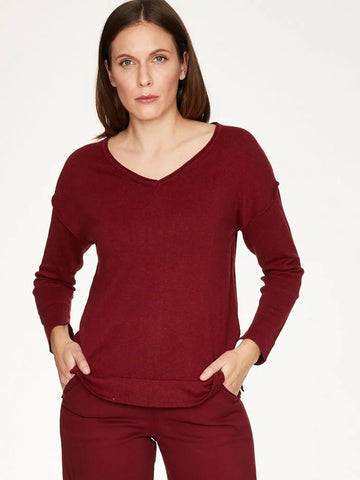 Loren Sweater in Ruby Red and Spiced Orange
