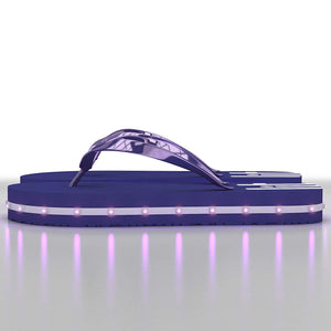 Litflip Light-Up Flip Flop Sandals for Men & Kids, Water-Resistant & Sandproof, Blue, Glowing LED Lights, Double USB Recharging Cable