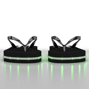 Litflip Light-Up Flip Flop Sandals for Men & Women, Water-Resistant & Sandproof, Black, Glowing LED Lights, Double USB Recharging Cable